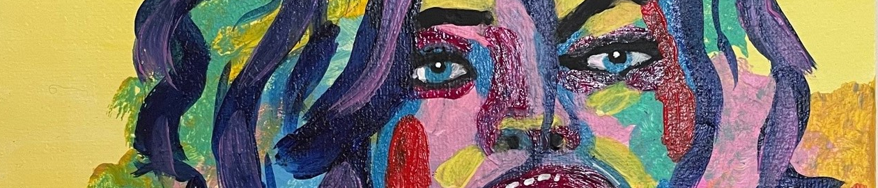 acrylic canvas paint - women funky abstract